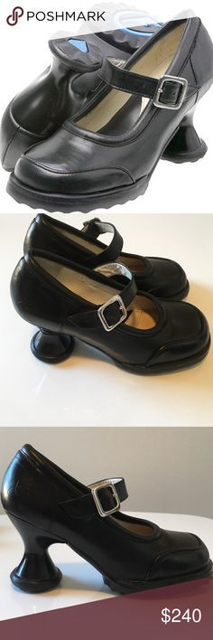 John Fluevog Minis Gorgeous in Black NWOT Never worn. John Fluevog's very popular Minis Gorgeous was a limited edition and can no longer be found in black. The Gorgeous was designed with both comfort and a fashionable edge, this maryjane style is comfortable, fun and suitable for nearly every occasion. Solid three inch heels with matching uppers on a durable and stable sole adds a half inch to your height without looking too chunky. John Fluevog Shoes Heels