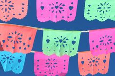 "how to make papel picados, a Mexican festive decoration that translates into ""perforated paper."" Check out wikipedia about the colours selected for papel picado."