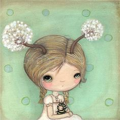 Dandelion PrintDande And Bee 6 x 6 by thepoppytree on Etsy, $16.00