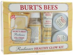 Burt's Bees Radiance Healthy Glow Kit by Burt's Bees. $22.00. Include eye Cream to reduce fine lines and natural lip shimmer. Body lotion with natural mica to enhance skin tone. Soap cleanses and exfoliates to smooth and even skin tone. Day and Night cream increase radiance, firmness, and minimize the appearance of fine lines. Creamy body wash infused with oil beads to moisture while it cleanses. Sample an assortment of products from our Radiance line in travel sizes that give yo...