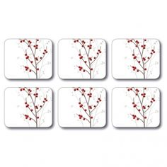 Red Cherish Coasters by Jason --- Quick Info: Price £9.95 The Cherish coasters are the perfect addition to your Christmas dinner table and for festive drinks with friends.   --- Available from Roman at Home. Images Copyright www.romanathome.com