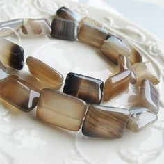 Flat rectangle natural agate beads17mm gray color lace by FARRAgem