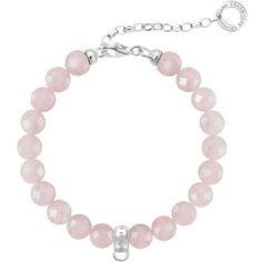 Thomas Sabo Charm Club Charm Bracelet , Rose Quartz (97 NZD) ❤ liked on Polyvore featuring jewelry, bracelets, rose quartz, bead charm bracelet, charm bangles, bead charms, clasp charms and charm bracelet