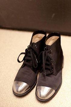 Chanel metal toe cap boots