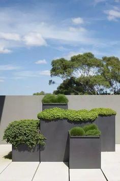 modern contemporary planters a great garden idea for a modern patio or deck - My Gardening Today Modern Landscape Design, Modern Garden Design, Modern Landscaping, Garden Landscaping, Landscaping Ideas, Contemporary Landscape, Contemporary Architecture, Contemporary Planters, Modern Planters