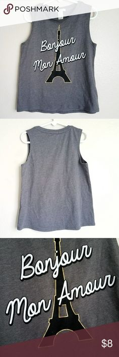 """Bonjour Mon Amour""  Top Adorable Forever 21 girls graphic muscle tee. Size 5/6. New, never worn.? Forever 21 Shirts & Tops"