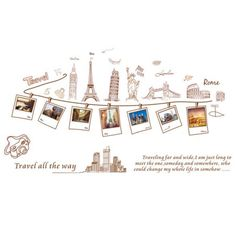Home Decor Accent Self Adhesive World Landmark Building Wall Sticker Decal Brown