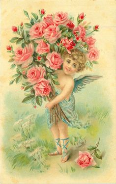 Cupid with huge bunch of pink roses