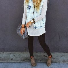 Jean vest and sweater