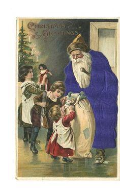 Purple Silk Santa Claus Postcard
