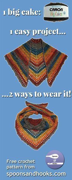 You need only a single Caron Big Cake to create this versatile shawl scarf using elementary crochet stitches. Caron Cake Crochet Patterns, Caron Cakes Crochet, Crochet Beanie Pattern, Crochet Stitches, Free Crochet, Crochet Edgings, Crochet Prayer Shawls, Crochet Shawls And Wraps, Crochet Scarves