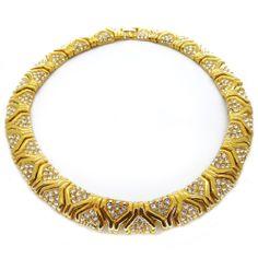 Vintage Gold Tone Paste Ornate Collar Necklace   Clarice Jewellery   Vintage Jewellery   Vintage Costume Jewellery