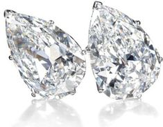 A pair of 19.43 carat (D VS1 Type IIa) and 19.16 carat (D VVS2 Type IIa) pear-shaped diamond ear clips from the collection of Mrs. Lily Safra to be auctioned on May 14, 2012 at Christie's Geneva