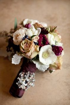 Burgundy-and-White-Bouquet