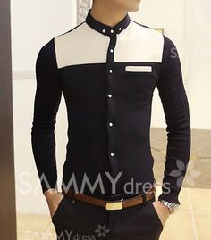 $15.24 Korean Style Buton Down Collar Color Block Knitting Long Sleeves Fitted Polyester Shirt For Men