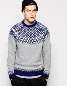Bellfield Sweater With Brushed Yarns & Diamond Fair Isle Jacquard Mode Masculine, Boys Sweaters, Men Sweater, Men Cardigan, Jumper, Big And Tall Style, Boy Fashion, Mens Fashion, Knitwear Fashion