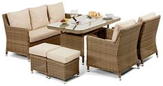 Maze Rattan Winchester Venice Sofa Dining Set with Luxury Inset Ice Bucket Table in a Rounded Natural Toned Weave