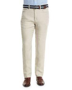Five-Pocket Linen Pants, Beige - Peter Millar