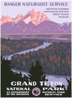 Grand Teton National Park, Wyoming, USA // WPA-style poster by Steve Thomas [Illustration] Retro Poster, Poster S, Poster Vintage, Vintage Travel Posters, Vintage Ski, Us National Parks, Grand Teton National Park, Vintage National Park Posters, Steve Thomas