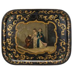 Napoleon III Tole Tray With Hand Painted Central Scene | From a unique collection of antique and modern more antique and vintage finds at http://www.1stdibs.com/furniture/more-furniture-collectibles/more-antique-vintage-finds/