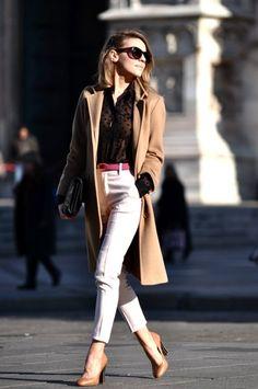 camel coat....cream pant....tiny color hit