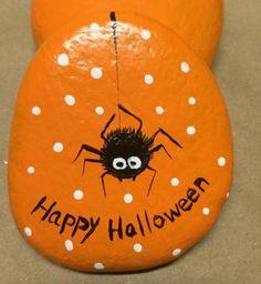 Cute spider Halloween painted rocks wcpr