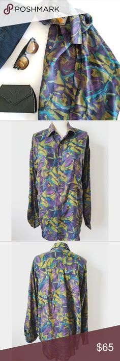 VTG Silk Abstract Print Boyfriend Top ✴VINTAGE ✴ Super lightweight 100% silk Oversized for boyfriend fit Excellent vintage condition!  PLEASE READ CLOSET INFO AND POLICIES POST Vintage Tops