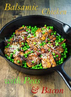 Balsamic-Chicken-with-Peas-and-Bacon *minus the mustard and cheese