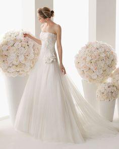 Drop Waist Strapless Tulle Ivory Brush Train Wedding Dress h1rc0361