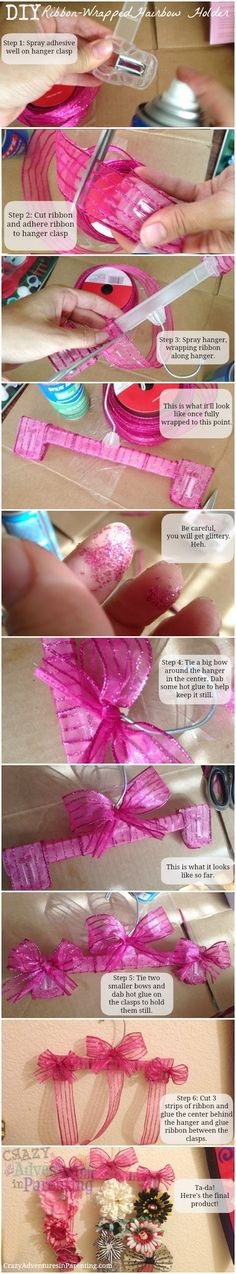 DIY: Hair Bow Holder~! Adorable! Made from plastic pant hanger and ribbon!