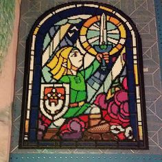 LoZ Link tribute: stained glass style from the beginning of the Minish Cap for Game Boy Advance (30 pegboards, 19,000 beads) - Perler pixel art by Chris Thomas