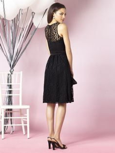 This slender cocktail length dress is perfect for that charming wedding ceremony you have planned and whether you have one or a dozen bridesmaids, each will enjoy the casual full skirt topped with lace. The matte satin belt around the waist matches the lace. After Six 6631 Bridesmaids is a dress that will be memorable and you will love looking at those wedding photos over and over! #timelesstreasure
