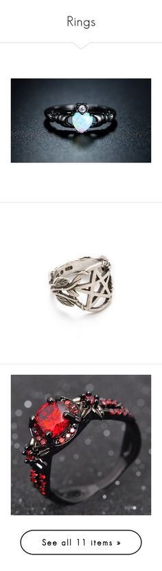 """""""Rings"""" by kidcreepy on Polyvore featuring jewelry, bracelets, rings, jewelry & watches, rhodium plated cz rings, heart jewelry, crown jewelry, cz jewelry, unisex rings and accessories"""