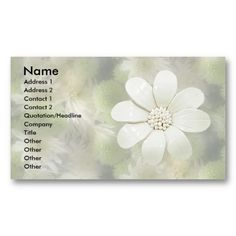 White Flowers Business Card Template #businesscards