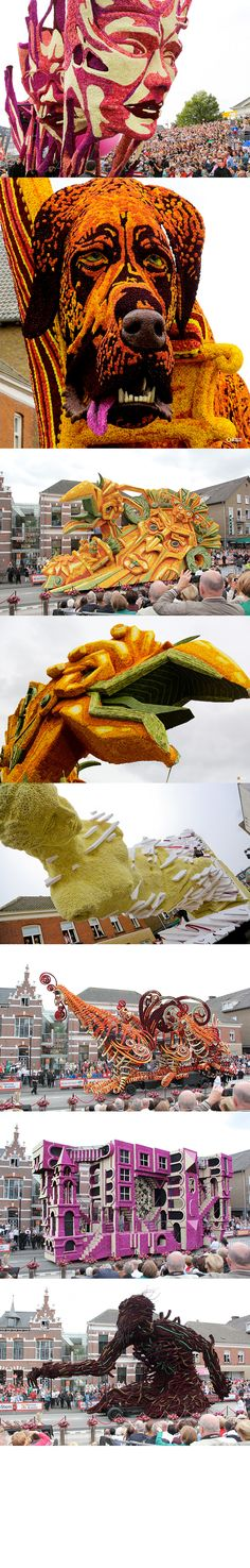 Giant Sculptural Floats Covered in Flowers from Corso Zundert 2013 via Colossal http://www.thisiscolossal.com/2013/09/corso-zundert-flower-parade-2013/