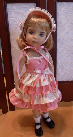 "Pink Bubble Gum Ruffles Outfit for Effner 13"" Little Darling Doll by Apple in Other 