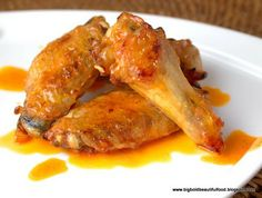 """My husband said, """"I'd like buffalo wings. The real kind."""" What he meant was that he wanted wings slathered in sauce, not plain wings. Baked Chicken Wings Buffalo, Buffalo Wings, Fried Chicken, Nibbles For Party, Football Party Foods, Low Carb Recipes, Chicken Recipes, Yummy Food, Favorite Recipes"""