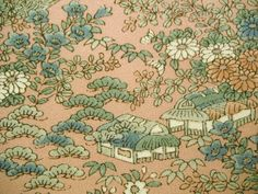 Yuzen floral garden scene Vintage Japanese Tango by CosimaOrimono
