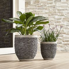 Shop Stacked Large Rock Planter.  A gorgeous way to bring natural texture into the home or patio, these planters are patterned with stacked slate, each stone pressed into place by hand.