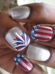 We love these silver patriotic jeweled nails from Pinterest/DaniellePistono