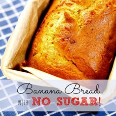 This banana bread without sugar recipe can be made using white or whole wheat flour. It's so moist and delicious, you won't believe it's sugar free! Sugar Free Deserts, No Sugar Desserts, Diabetic Desserts, No Sugar Foods, Sugar Free Recipes, Diabetic Recipes, Healthy Desserts, Dessert Recipes, Cooking Recipes