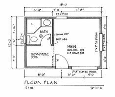 micro house plans | Click HERE to see the medium sized 12'x18' floor plan.