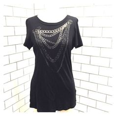 Rock & Republic Women's Black Chain T Shirt Large Rock & Republic Women's Black Chain T Shirt. Size  Large worn once! Clean from a smoke free home! Rock & Republic Tops Tees - Short Sleeve