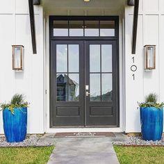 This type of outdoor lighting photography is truly an outstanding style concept. Front Door Entryway, House Front Door, Exterior Door Colors, Exterior Doors, Front Door Design, Gate Design, Metal Door Awning, Door Redo, Exterior Lighting