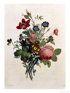 Bouquet of Rose and Lily of the Valley Giclee Print by Jean Louis Prevost at Art.co.uk