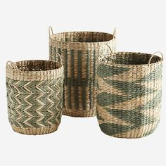 Woven Wicker Baskets - Affordable Home Decor & Accessories Wicker Baskets With Handles, Large Baskets, Home Decor Accessories, Decorative Accessories, Estilo Tropical, Moving Furniture, Affordable Home Decor, Pattern Mixing, Storage Baskets
