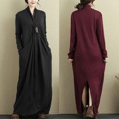 Pure Color Irregular Long Sleeve Maxi Dresses For Women Online - NewChic Mobile