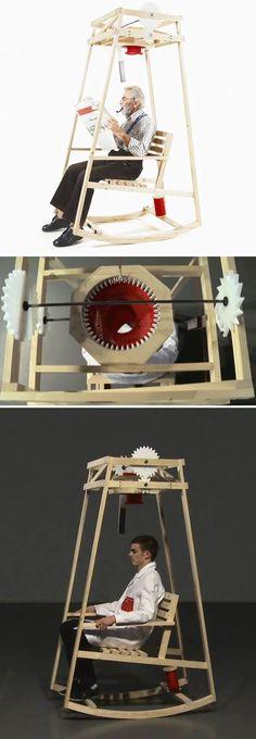 """Chaise à bascule utilitaire Je vous présente """"Rocking Knit"""" un concept artistique mélangeant design et humour. En effet, cette chaise à bascule, imaginée p"""