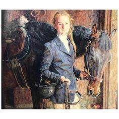 Portrait by Sergei Danilin of Young Girl With Horse | Chairish