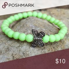 Butterfly Bracelet Green Silicone Coated Beaded Cuff with Silver Butterfly Slider Charm Accessories